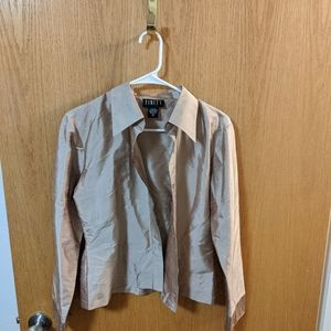 Vintage 100% silk gold button up shirt